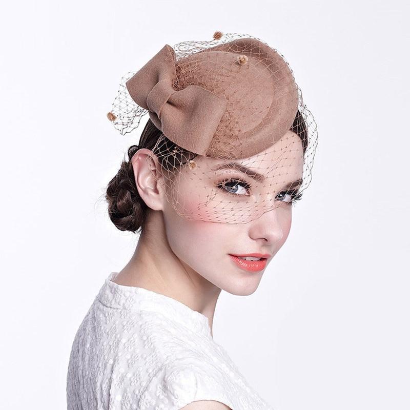 Vintage Fancy Veil Bowknot Wool Felt Hat Women Fedoras Church Derby Wedding Fascinator Hat Elegant Ladies Pillow Hat Party hat