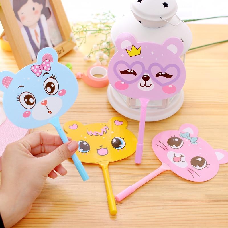 2 pcs new strange student cartoon cute animal mini fan pen plastic ball pen creative stationery children school gift