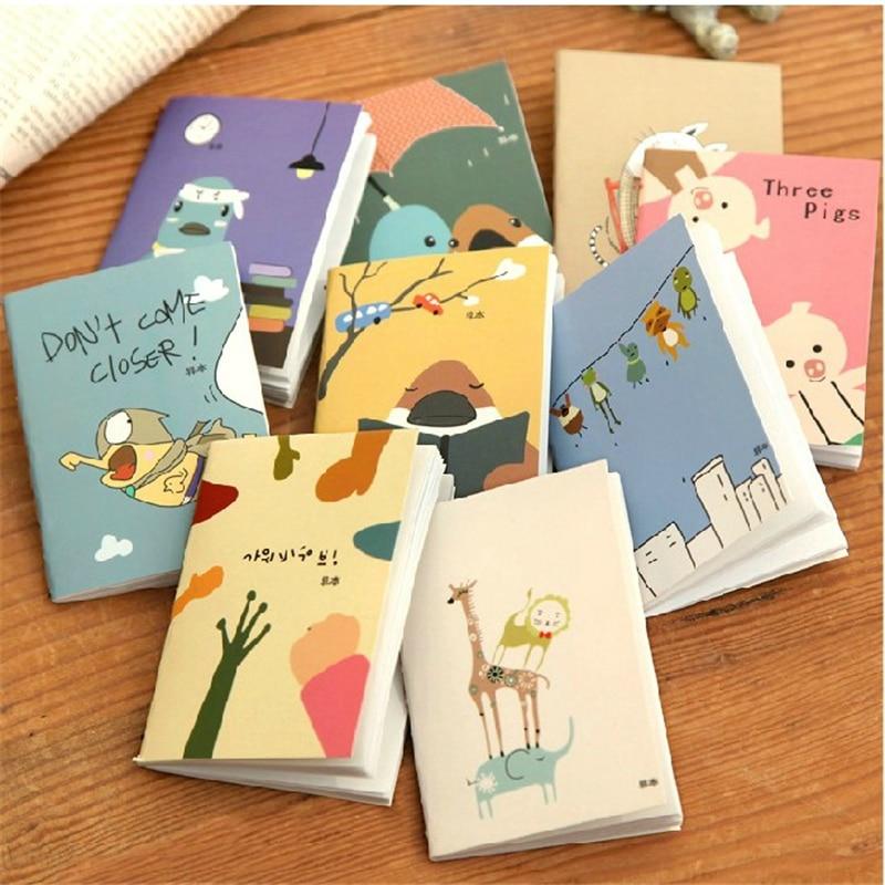 4 pçs/lote dos desenhos animados mini caderno do miúdo bolso nota almofada diário planejador para crianças kawaii artigos de papelaria material escolar 5.7cmx8.0cm