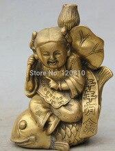 "6 ""chinois Fengshui en laiton ragazza fille Gal tour poisson Lotus fleur feuille Statue"