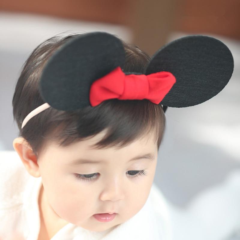 new cute minnie mouse ears headband girls kids elastic hair head bands wrap accessories for children turban headwrap headdress