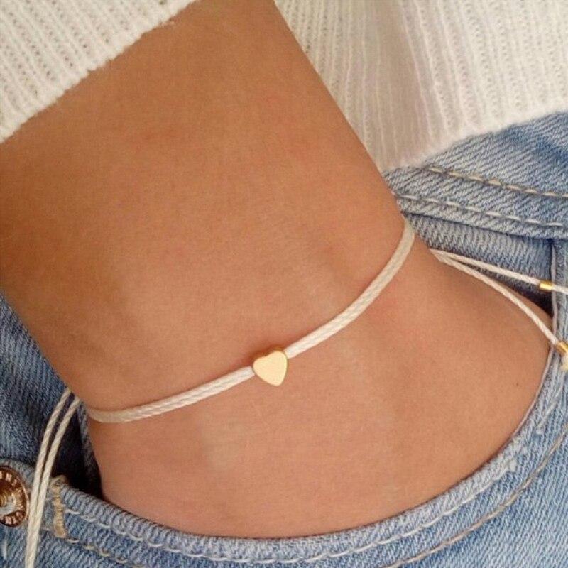 Pulsera de cuerda Beige coreana hecha a mano, pulsera de corazón ajustable minimalista, joyería para mujer