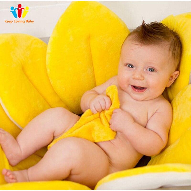 Детская ванна с цветущим цветком для новорожденных, складная подушка в форме лотоса, коврик для ванной, портативная ванна, мягкое сиденье