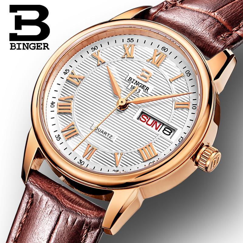 Switzerland Binger Women's watches fashion luxury watch ultrathin quartz Auto Date leather strap Wristwatches B3037G-12