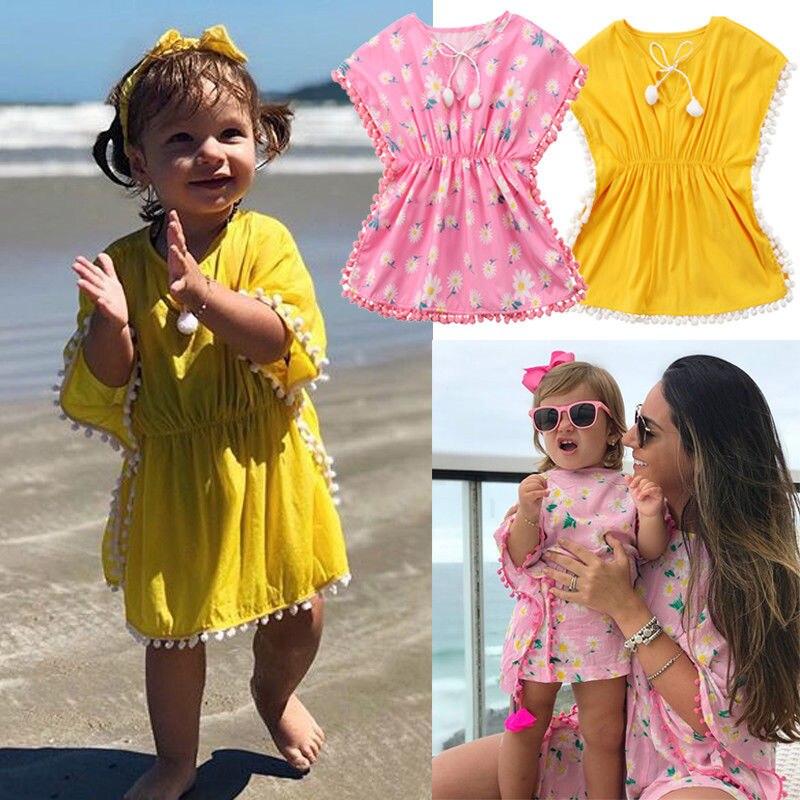 Kids Beach Dress 2018 New Summer Baby Girls Dress Beach Cover Up Sundress Flower Fringe Dresses Yellow Pink Tassels Swim Wear