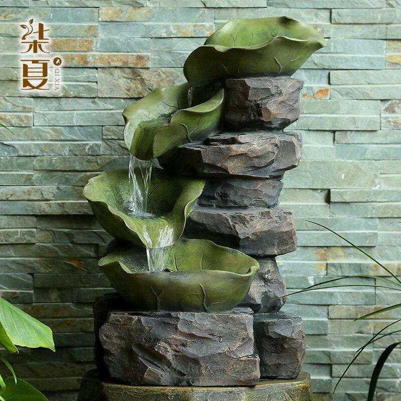 Fuente de agua Rocalla de loto Seven summer, regalos de empresa de hotel, regalos de negocios, decoración de patio chino