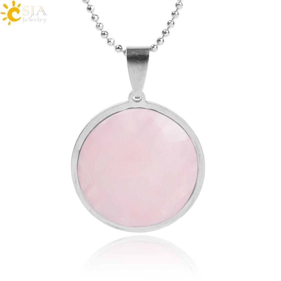 CSJA Reiki Natural Round Necklace Pendants Gem Stone Stainless Steel Tiger Eye Pink Quartz Lapis Lazuli Opal Chakra Jewelry F004