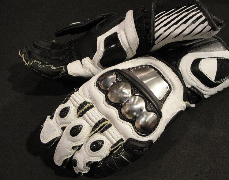 Willbros luvas de couro genuíno d1, luvas longas de metal para motocicleta, preto e branco