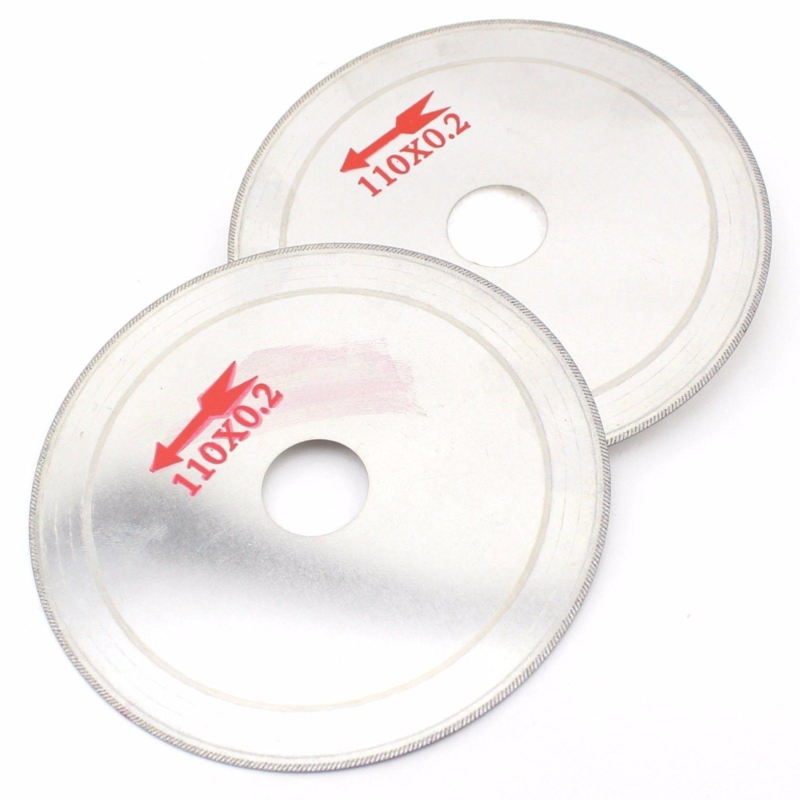 "2Pcs 4 1/2"" 110mm Ultra-thin Diamond Lapidary Saw Cutting Blade Disc 3/4"" Arbor ILOVETOOL"