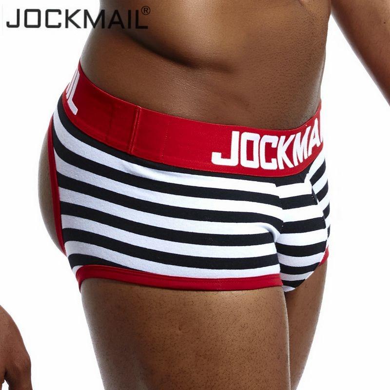 JOCKMAIL, Брендовое сексуальное нижнее белье для мужчин, Jockstrap, дышащее cueca, Гей Нижнее белье, хлопковые боксерские шорты, трусы с низкой талией, g-...