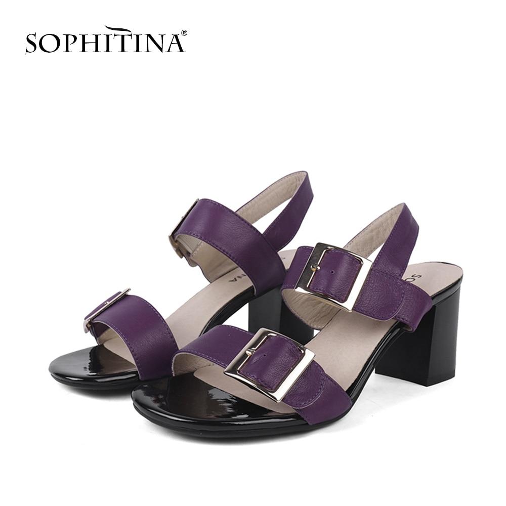 SOPHITINA/Модные женские босоножки из натуральной кожи однотонные туфли на