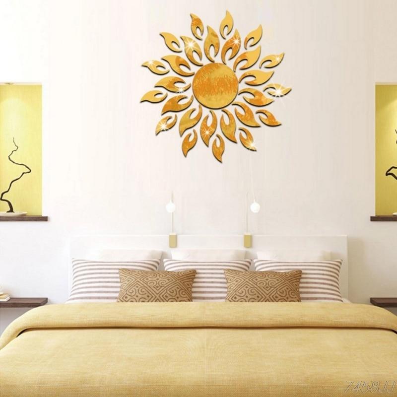 DIY 3D Sparkly Sonne Spiegel Wand Aufkleber Acryl Wandbild Aufkleber Home Decor Abnehmbare G22 Drop schiff