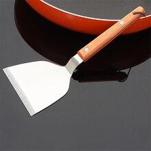 مقبض خشبي الطبخ فطيرة مجرفة الفولاذ المقاوم للصدأ المطبخ الطبخ مجرفة شريحة لحم لوحة من الحديد الشواء مجرفة
