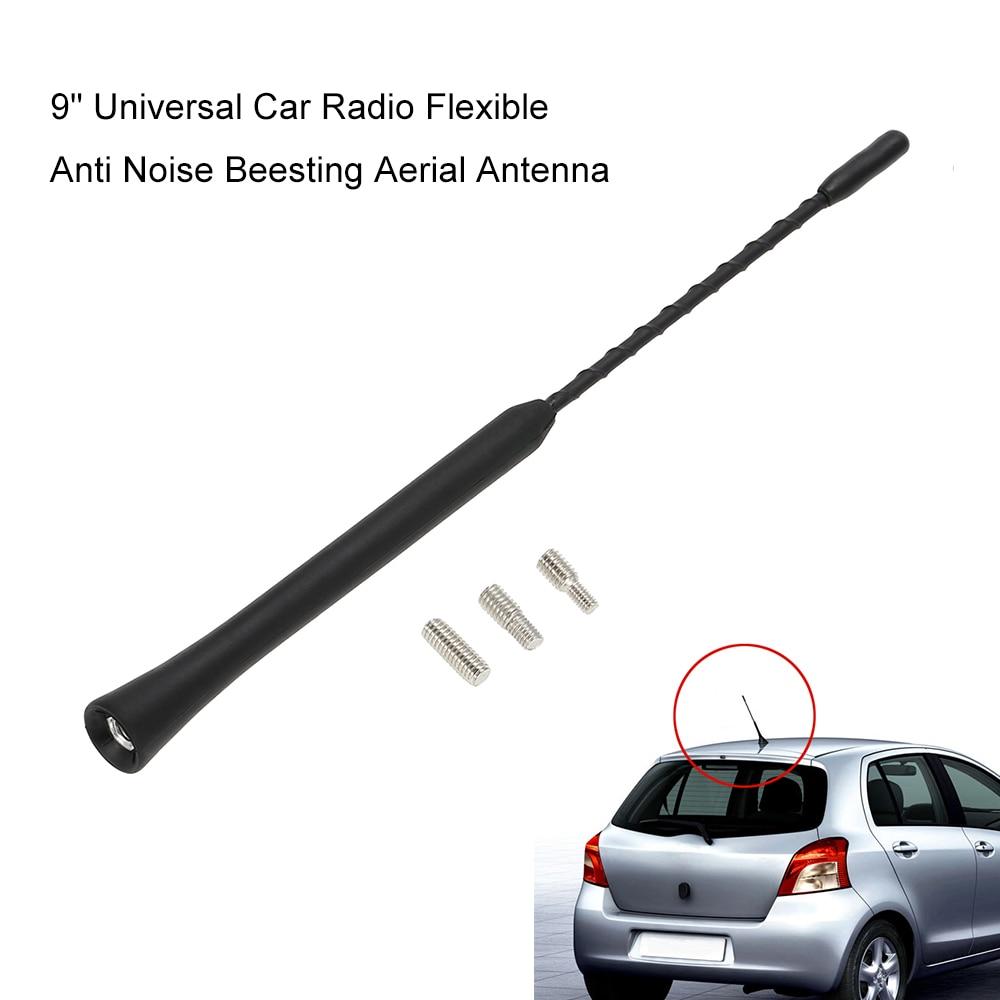 "9 ""Universal Car Radio Flexible Anti ruido Beesting antena aérea FM Radio antena con tornillos estilo de coche aéreo para VW BMW"