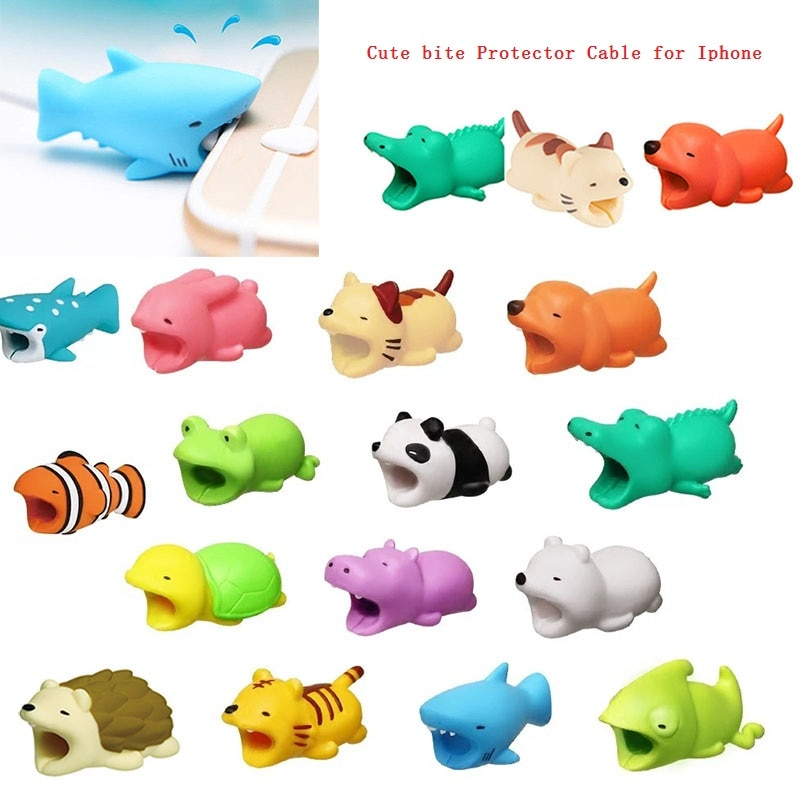 Protector de mordida de cables para gestión de cables, Cable enrollador con forma de animal, Cable Tigre, accesorios y piezas para auriculares con forma de perro
