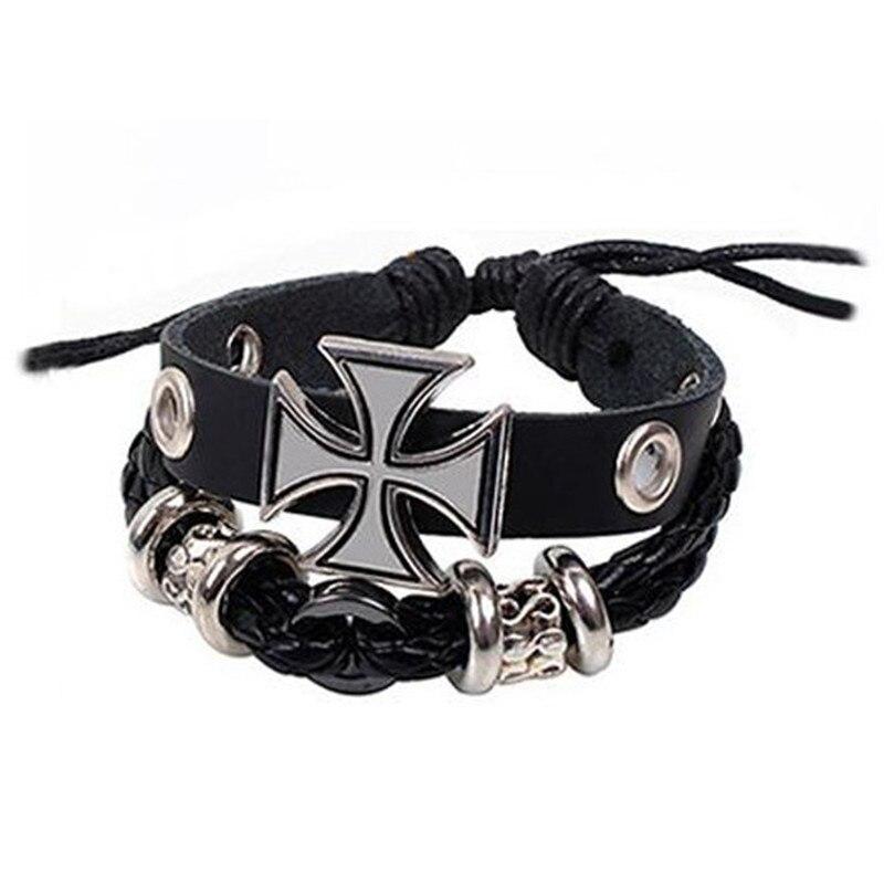 Pulsera de Cruz de Hierro de Prusia negro frío, tela de aleación tejido, pulsera de urdimbre de cruz de Cristo para hombres, accesorio de regalo de joyería