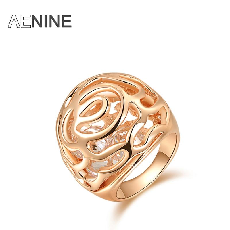 Aenine oco flor rattan ondulado anéis do vintage rosa cor de ouro zircônia cúbica micro-inseridos anéis de casamento jóias r150310226r