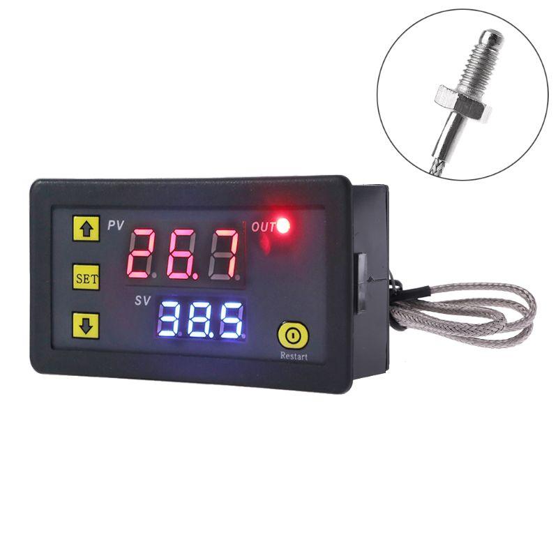 Controlador de temperatura Digital, termostato integrado con Sensor termopar y sonda tipo K M6 de 60 ~ 500C