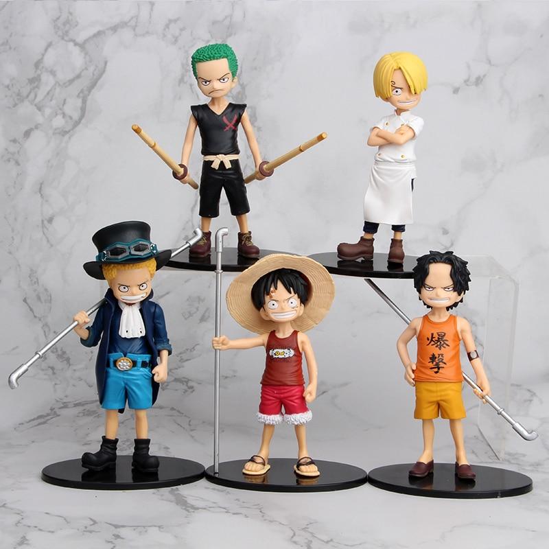 Figuras de acción de One Piece, Set nuevo de 2019 de 15cm con 5 estilos, Luffy, Roronoa, Zoro, Sanji, Ace, modelo de figura de acción de PVC