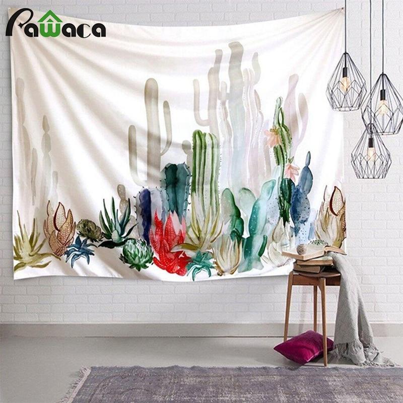 Кактус, акварельные подвесные настенные гобелены, мандала, богемный гобелен, пейзаж, настенные художественные обои, домашняя декоративная ...