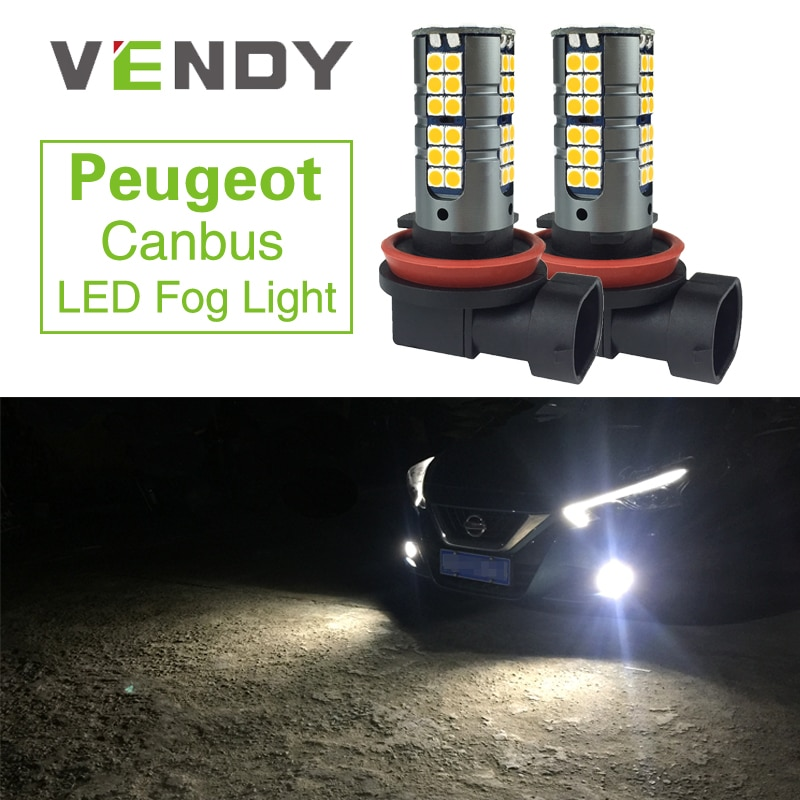 2x H8 H11 Canbus Erro Free Car LED de Alta Potência de Luz de Nevoeiro Auto Lâmpada Para Peugeot 307 206 301 207 2008 508 4008 3008 308 408