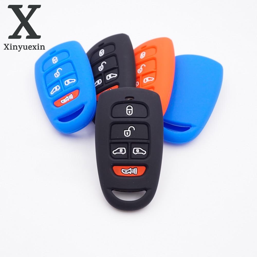 Xinyuexin  5 Button Silicone Rubber Car Key Shell Fob for Hyundai SantaFe for Kia Grand Carnival  Remote Car Key Cover