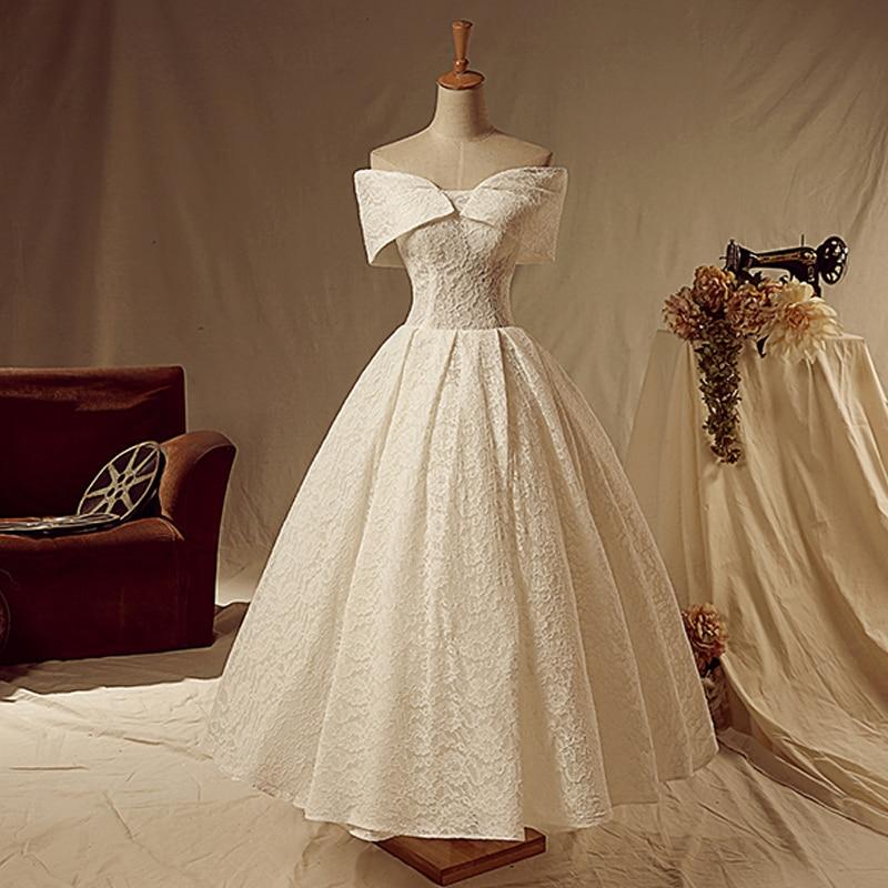 2015 encaje de marfil clásico hasta el tobillo manga casquillo vestidos de novia con encaje informal petite una línea vestidos de novia gran oferta