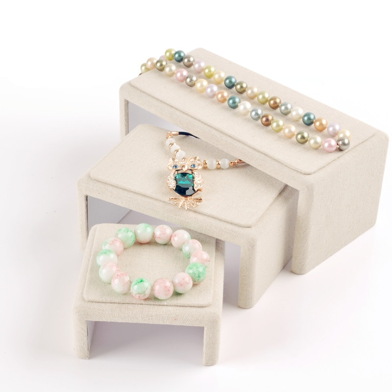 Lote de 3 nuevas joyas de lino de moda soporte para presentación de joyería cadena anillo con pulseras soporte de lino