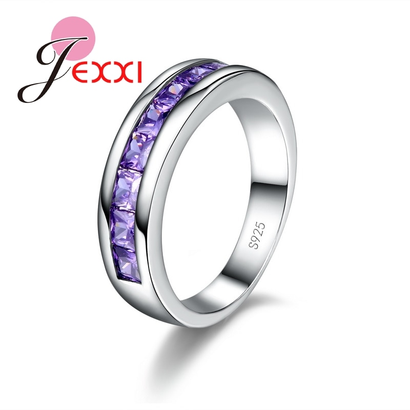 Fashion Women Jewelry Purple Rings For Lady Elegant 925 Sterling Silver Wedding Engagement Ring For Women cutout butterfly colorful wedding 925 sterling silver rings for women elegant multicolor zircon ring jewelry girl gift bijoux