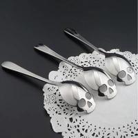 300pcs novelty spoon fashion stainless steel skull shape coffee sugar tableware kitchen teaspoon spoon dessert gothic funny gift