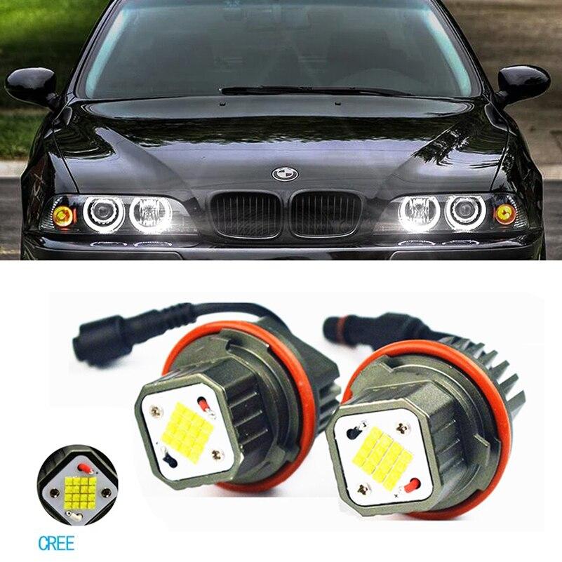 1 Set luz led de posición Ojos de Ángel de luz LED Chips 6000K Super brillante LED Ojo de Ángel marcador para BMW E39 E53 E60 E63 E64 E65 E66 E83