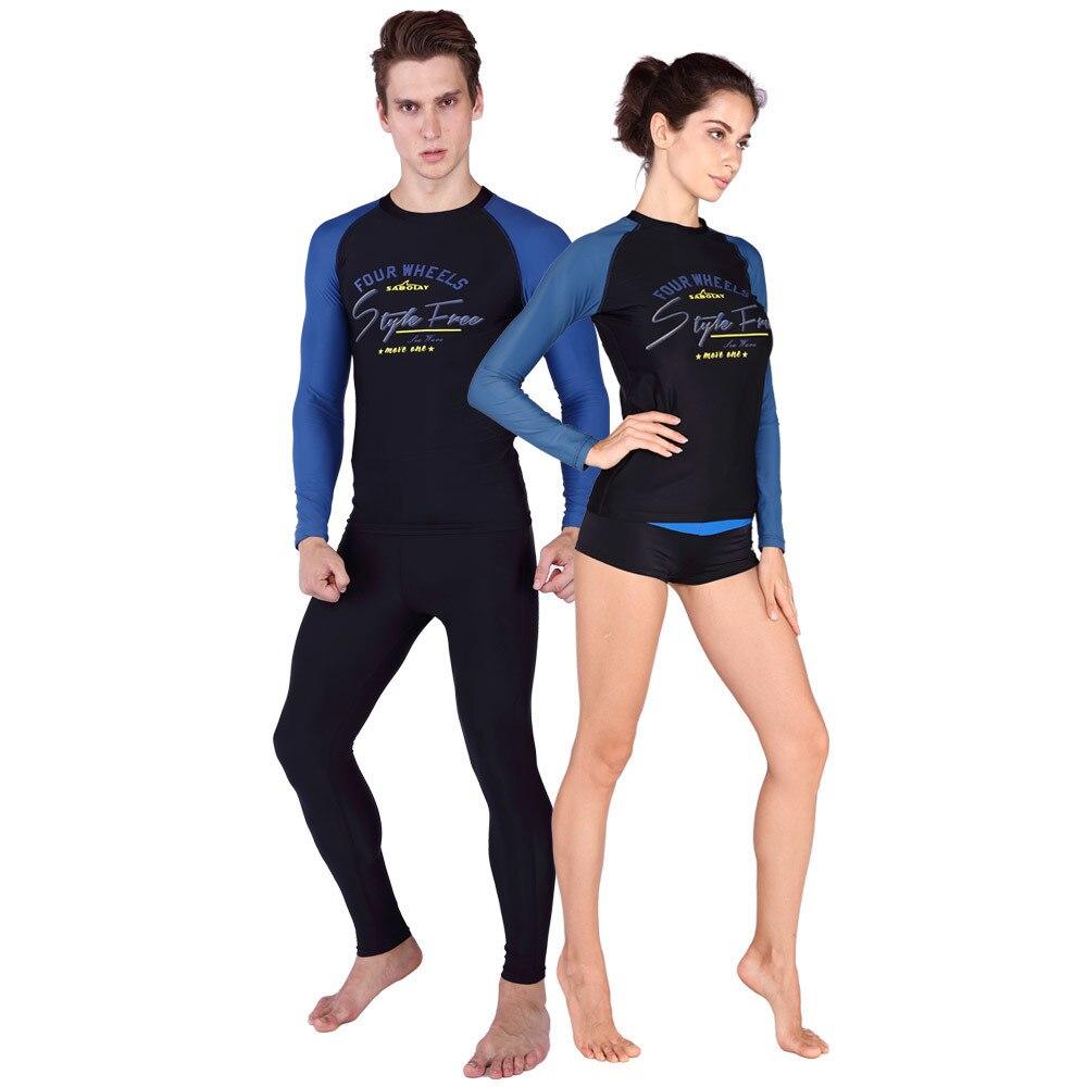 Traje de buceo SABOLAY amantes de buceo Lycra alta elasticidad camisetas de baño de secado rápido pantalones cortos de estilo Rash protectores de playa Surfing protector solar