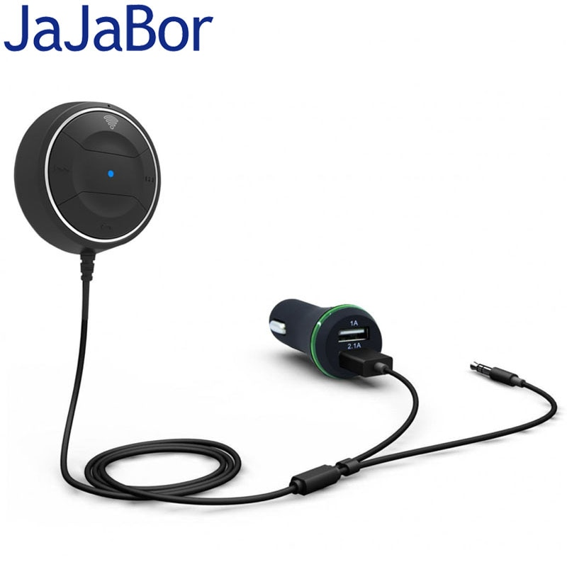 Jajabor Bluetooth 4.0 Hands Free Car Kit с NFC Функция + 3.5 мм Aux приемника Музыка AUX громкой связи 2.1A USB автомобиль Зарядное устройство