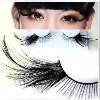 1 pairs Black Feather stage exaggerated false eyelashes party masquerade nightclub natural long full strip Eye lashes YM77