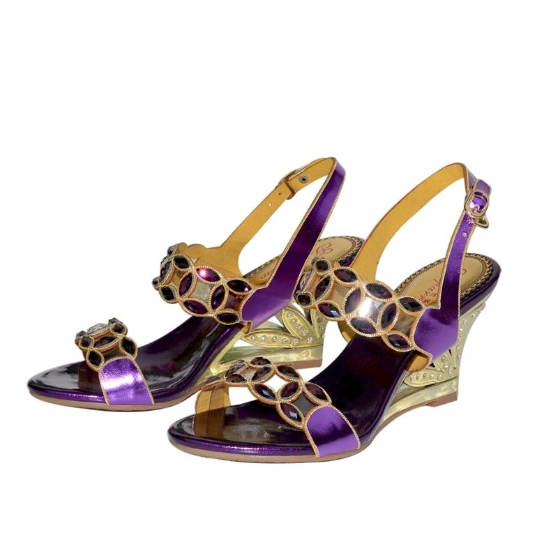 2019 New Summer Black Sandals Rhinestone Wedges Sandals Crystal Diamonds Women's Shoes Open Toe High Heels 8CM
