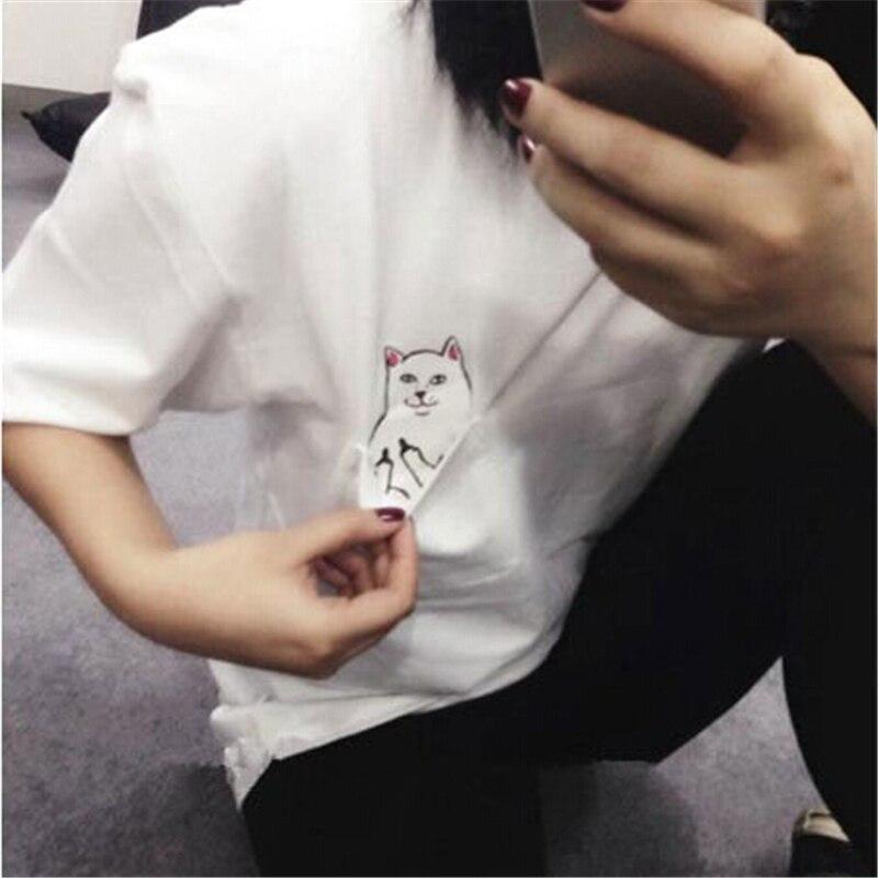 Hirigin nova moda verão bolso harajuku gato amantes das mulheres topo de manga curta t camisa bonito doce estilo feminino