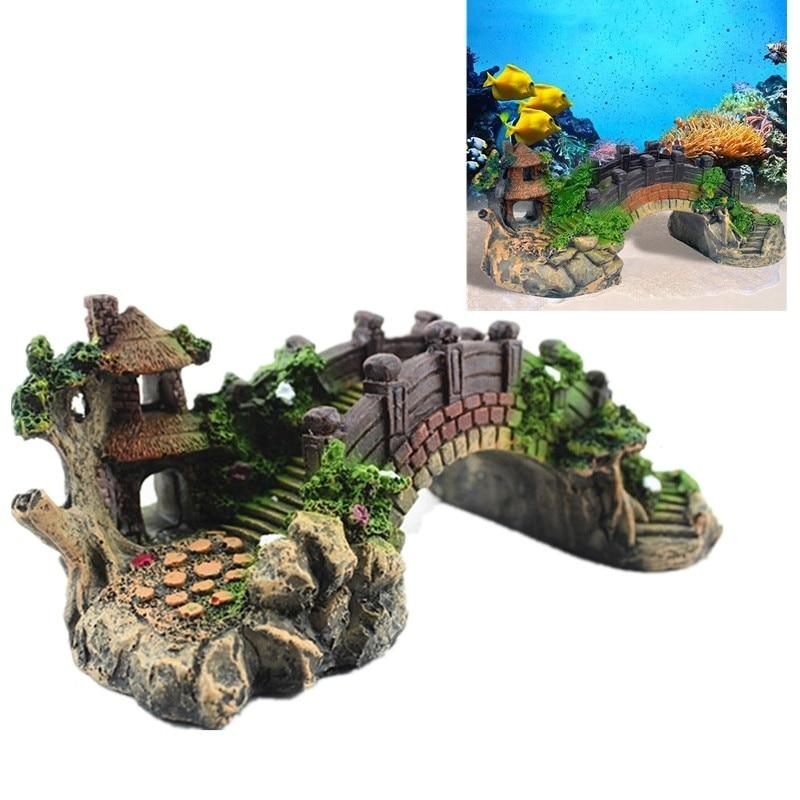 Steps Bridge Shelter for Turtle Snake Spider Reptile  Hide Refuge House Cave Fish Tank Aquarium Ornament