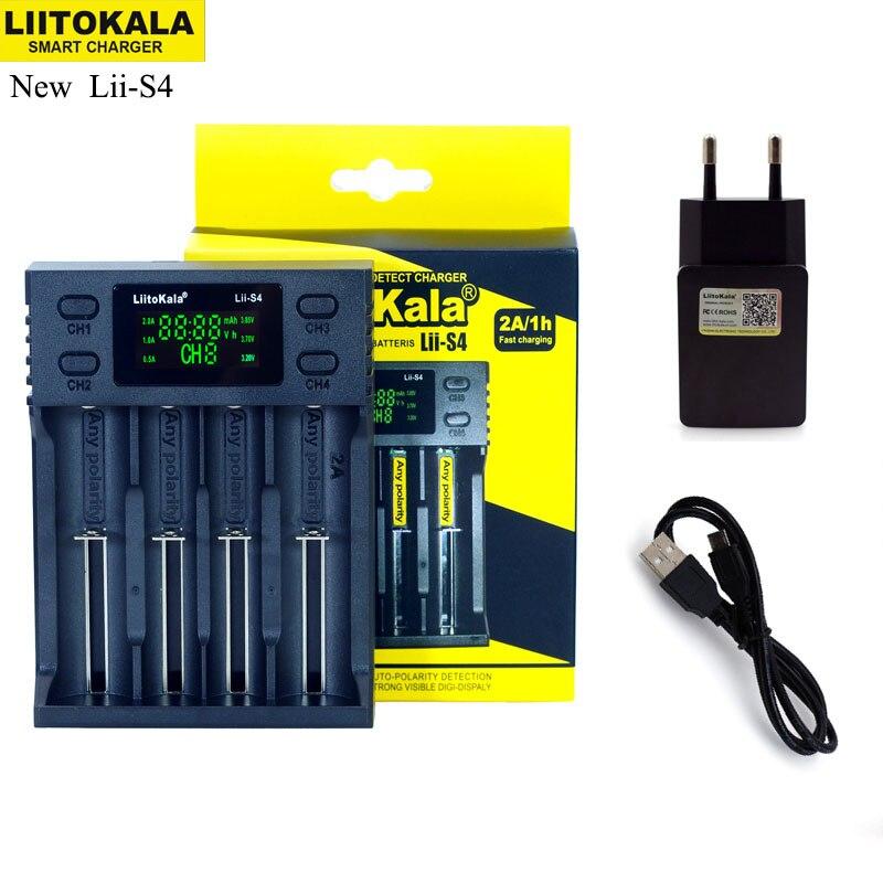 NOVA Liitokala Lii-S2 S4 PD4 402 202 100 18650 Carregador de Bateria 1.2 v 3.7 v 3.2 v AA21700 NiMH li-ion carregador de bateria Inteligente + 5 v plugue