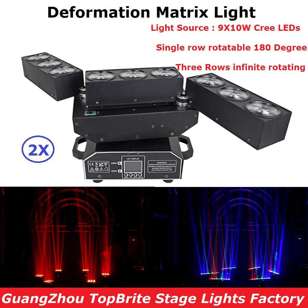 2 единицы DJ оборудование 9X10W RGBW 4в1 LED матрица деформации луч движущийся головной свет для сценической вечеринки свадьбы Рождественское укра...