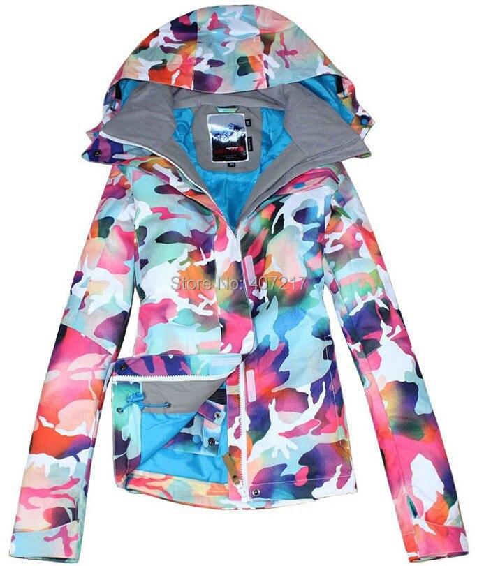 Gsou snow womens camouflage ski jacket colorful snowboard jackets ladies waterproof windproof warm anorak skiwear snow wear