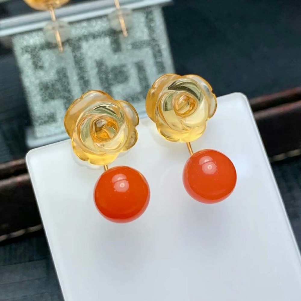 shilovem 18K yellow Gold real Natural south Red agate Drop earrings fine Jewelry wedding new plant women gift myme12129-9.5nh