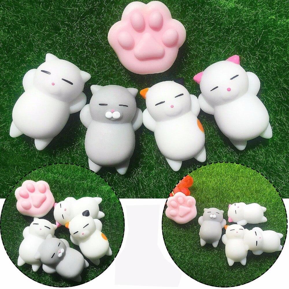 5 pacote conjunto mole animais super macio mini animal squish kawaii antiestresse bola fidget squeeze brinquedos 4 gatos & 1 pata