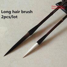 2pcs/lot Chinese Calligraphy Brush Chinese Painting Brush Pen Chinese Ink Brush Long Hair Writing Brush Pen Mo Bi
