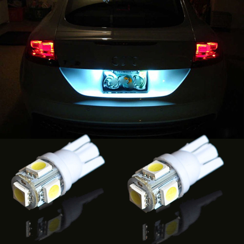 20 piezas T10 LED W5W 12 V 12 V de luz blanca del coche del bulbo 6000 K Smd 5050 5 LED de la cuña lateral cola luces Auto LED lámpara T10 LED w5w 168 de 194 a 2825
