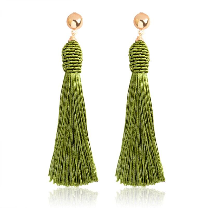 Romantic beige pink blue green colorful Tassels big Drop Earrings danglers Bohemia Ethnic BOHO Winter Charm Earrings