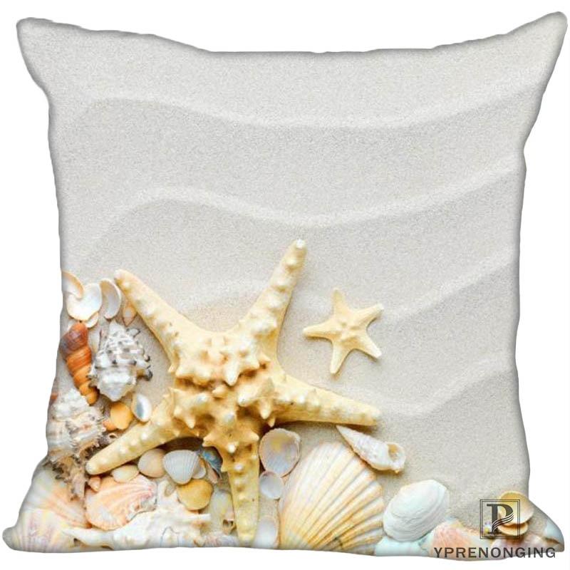 Custom Shell Beach Square Pillowcase Custom Zippered Pillow Cover Case 35X35,40x40,45x45cm(One Side)180522-02-06