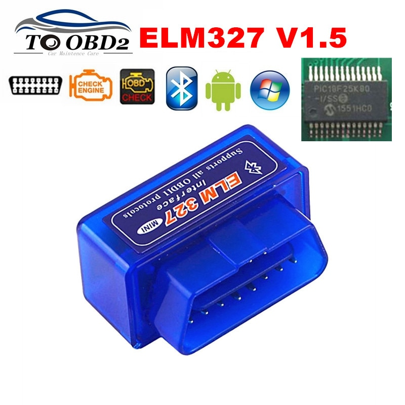 Best Quality Hardware V1.5 PIC18F25K80 Chip ELM327 Bluetooth 1.5 Works Android Windows Diagnosis Scan Tool ELM 327 FREE SHIPPING