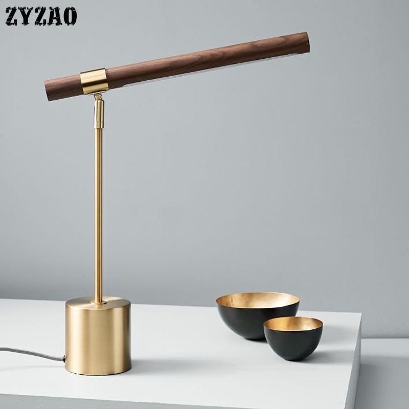 Итальянские дизайнерские медные светодиодные настольные лампы с деревянным