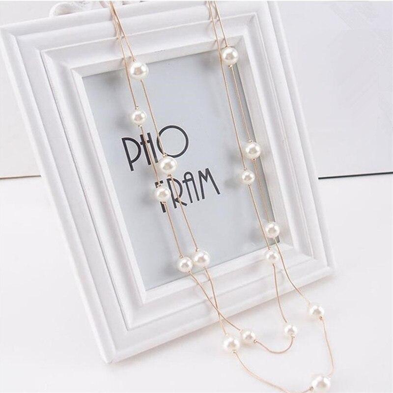 Nuevo collar largo de perlas de imitación de doble capa de alta calidad al por mayor de Corea del Sur elegante suéter cadena joyería