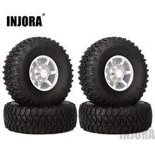 INJORA 4 STUKS 1.55 Inch Beadlock Aluminium Velg & Wiel Banden 1.55 Tyre voor RC Crawler Auto D90 TF2 tamiya CC01 LC70 LC80